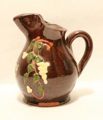 """Small Antique French Slip-Decorated """"frangy"""" Creamer!!! Lovely!!! Very Nice!!!"""