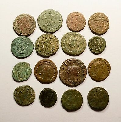 Lot Of 16 Imperial Roman Bronze Coins For Identifying - 042