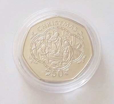 RARE Isle of Man IOM Christmas 50p Fifty Pence Coin Nativity Scene UNC 1993 DF