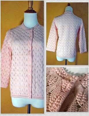 Rock-a-Billy Vintage 1950s CORLISS Popcorn Knit Cardigan Sweater Sz S - Perfect!
