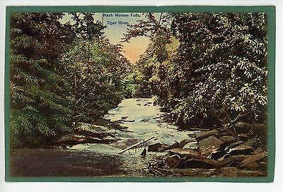Wash Women Falls—Tiger River BRITISH GUIANA Antique PC-Glued-to-Paper 1920s