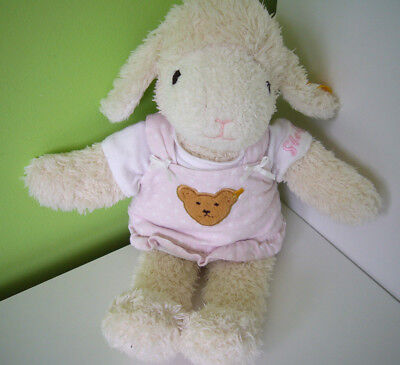 "Steiff Sweet Dreams Lamb Sheep EAN 237416 Baby Soft Plush Toy 11"" Pink Dress"