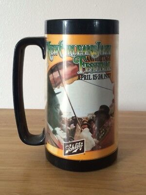 SCHLITZ Beer~1977 N.O. Jazz Festival *Thermo-Serv* Mug-Great Collector's Item !