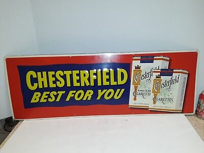 """Chesterfield Cigarettes Sign Best For You Beautiful Original 34"""" X 12"""""""