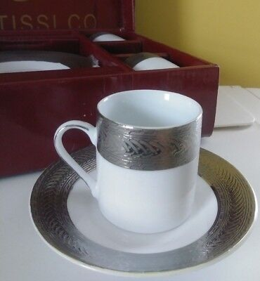 Rantissi Co.German 6 Piece Tea Set Cups and Saucers White with Silver