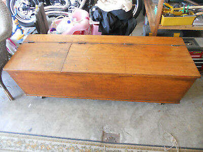 Antique Primitive Dovetailed  Wood Blanket Box / Hope Chest / Storage Chest