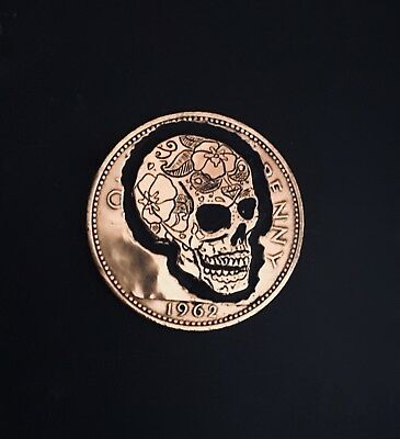 Hobo Nickel Hand Carved, Engraved, English Penny, 1962, Sugar Skull