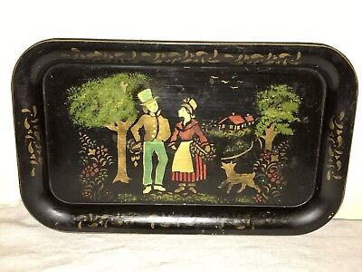 Antique Vintage Early Toleware Tray Small Hand Painted Stencil Scene Unusual