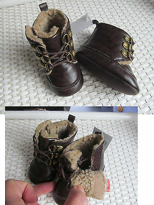BOOTS BOTTINES ABSORBA simili cuir MARRON Taille 15/16 à scratch