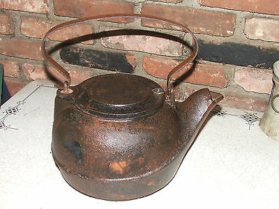 Vintage Heavy Cast Iron Tea Kettle with Attached Swivel Lid & Fitted Bottom