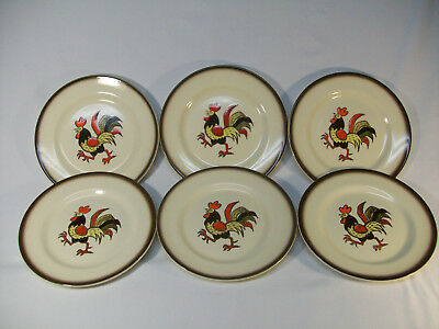 """Set Of 6 Metlox Poppytrail Red Rooster 7 1/2"""" Salad Plates Excellent"""