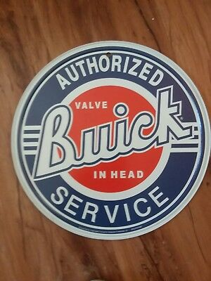 Buick Authorized Service Valve in Head Metal Sign Vintage Garage Decor 11.75