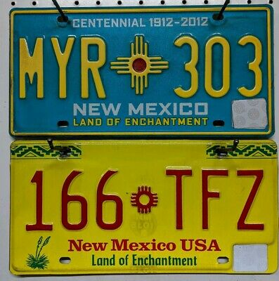 NEW MEXICO  license plate Lot.Turquoise and Yellow land of enchantmen. NM plates