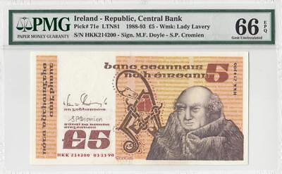 1.11.1990 Central Bank Of Ireland 5 Pounds (( Pmg 66 Epq ))