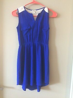 Girls Monteau Girl Blue High- Low Dress With Cream Knit Back Size 10