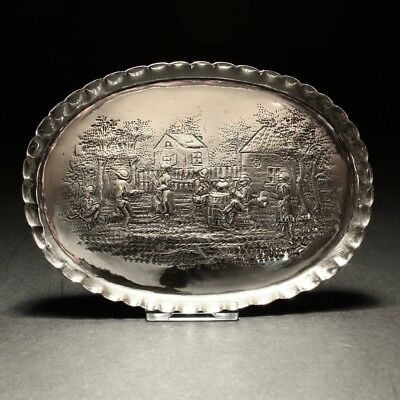 1880 William Comyns Embossed Country Dancing & Drinking Solid Silver Dish London