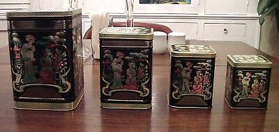 Set Of 4 Vintage Asian Theme Tins Canisters Made In England Tea Bin
