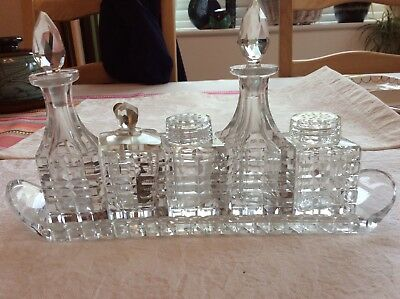Five Piece Vintage Cut Glass Condiment Set In Cut Glass Tray