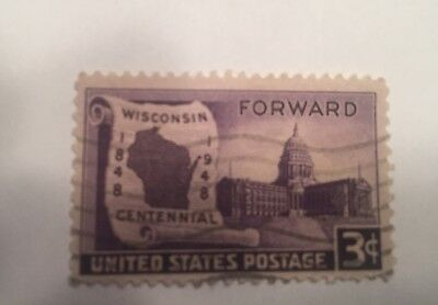 3 cent Wisconsin Centennial State   Stamp 1848-1948