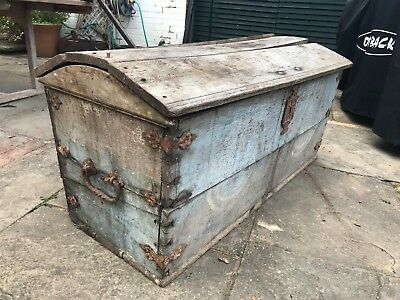 Large and very old solid oak chest - barrel top - 200+ yrs old - dated 1791