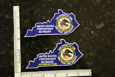 Bureau of Prisons USP McCreary KY Activation & Institution Patches State Shaped