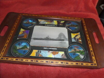 VTG BUTTERFLY WINGS / Marquetry TRAY Made In Rio De Janeiro~F.ROOSEWELT