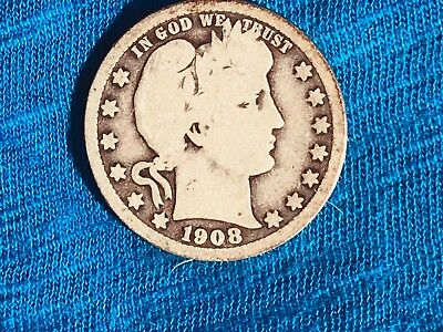 1908 O Barber Quarter, A Very Good Looking, Lower Mintage Coin. Free Shipping.