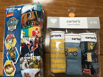 NWT Carter's Toddler Boys Briefs Underwear 4T-5T Trucks Paw Patrol Lot Of 2 NEW