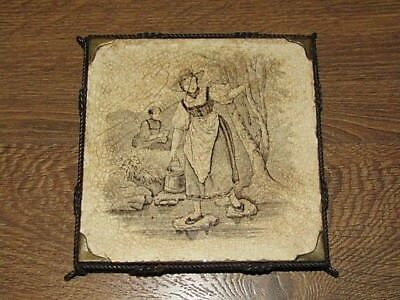 Mintons Stoke On Trent China Tile Women At Water 6x6 Twisted Wire Holder