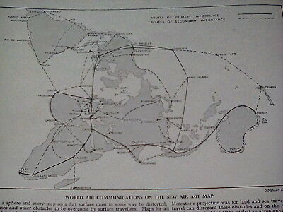Very Rare 1940's Air Age Travel World Map Communications Small Page to frame?