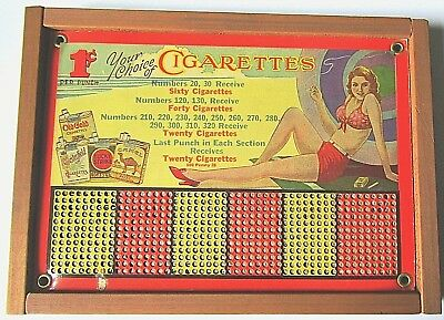 VINTAGE PUNCH CARD GAME GAMBLING CASINO WIN CIGARETTES UNUSED w/ KEY
