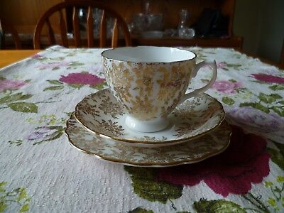 Lovely Vintage Royal Vale China Trio Tea Cup Saucer Plate Gilded Chintz