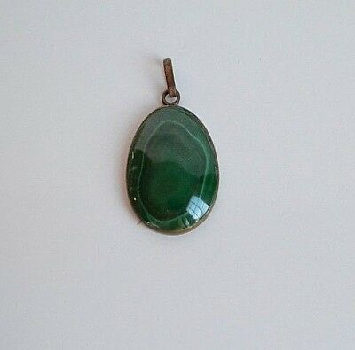 Big Antique Victorian hand carved Malachite Oval Domed Pendant with Brass Frame