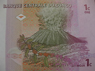 """Congo 1 Centime Banknote unc note """"Volcano note"""" neat paper money native harvest"""