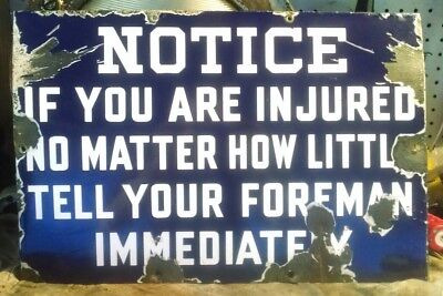 """Rare antique 1930s NOTICE/INJURED  Ford Car Factory gas oil 18"""" porcelain sign"""