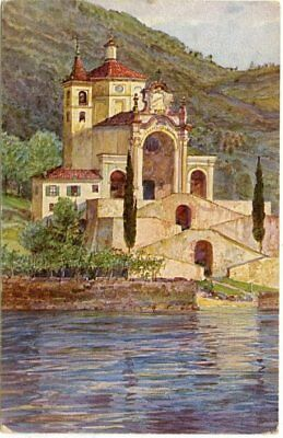 Swiss stamps:1921 postcard of Campione church sent Lugano to Pembroke  UK