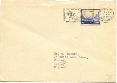 Swiss Stamps: Posted cover from Zurich to Woking UK 1949