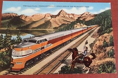 Chicago Milwaukee St Paul And Pacific Natural Color Postcard Train Vintage