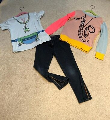 Stella McCartney kids girl outfit, Navy blue jeans with jumper and t-shirt age 6