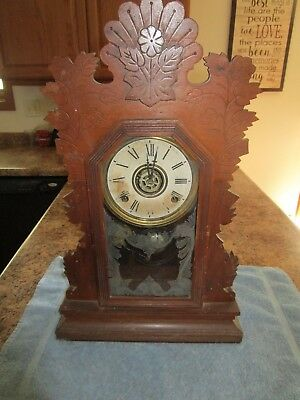 Wm. Gilbert Wind Up Gingerbread Kitchen Clock Etched Glass For Repair Or Parts