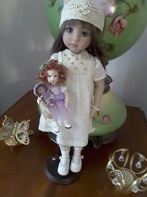 """Little Darling Tiny Doll made from Dianna Effner Clay Mold and Mini 1"""" doll."""