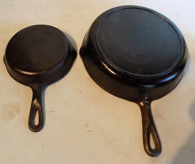"""Rare Vintage Lot 2 Wagner Ware #3 1053R Heat Ring #7 10 1/8"""" Cast Iron Skillets"""