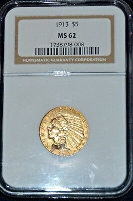1913 $5.00 Indian Gold Coin Ngc Ms62 Spot Free!