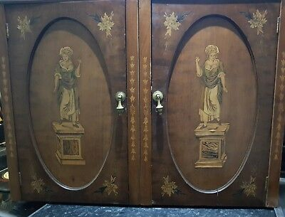 Rare Antique French Inlaid Wall Cabinet , Beautiful item, see photos please