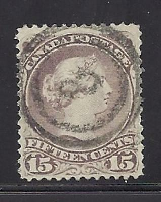 Canada Scott 29 15Cent Large Queen Use VF 2 ring 8 Very Scarce Unitrade $90 Cad