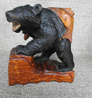 Black Forest Wood Carved Black Grizzly Bear With Fish Over His Back Folk Art