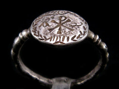 Extremely Rare Late Roman *chi-Rho* Alpha & Omega Sign Christian Silver Ring+++