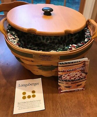 Longaberger 1999 Christmas Collection Popcorn Green Basket Combo NEW!