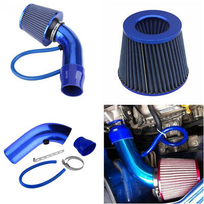 "Blue Air Intake Kit Pipe Diameter 3"" +Cold Air Intake Filter+Clamp+Accessories"