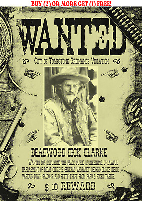 Old West Wanted Poster Outlaw Deadwood Dick Western Cowboy Saloon Reward